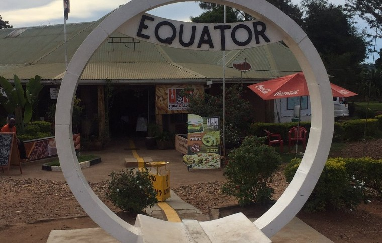The monument showing the line of the equator.