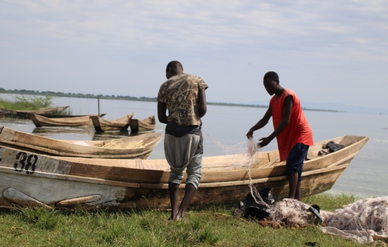 Fishermen prepare their nets on the banks of the Kazinga Channel.