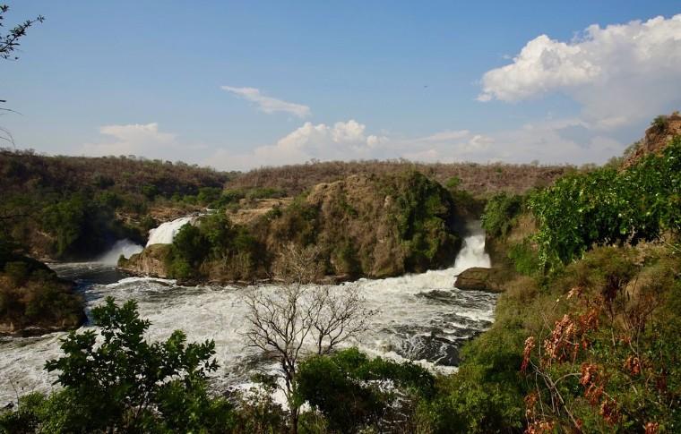 The River Nile foaming at Murchsion Falls