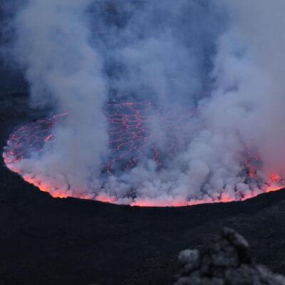 The active Mount Nyiragongo Volcano trek.